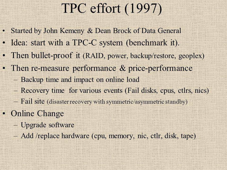 TPC effort (1997) Started by John Kemeny & Dean Brock of Data General Idea: start with a TPC-C system (benchmark it). Then bullet-proof it (RAID, powe