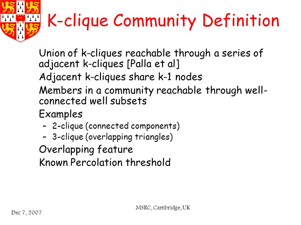 MSRC, Cambridge, UK Dec 7, 2007 K-clique Community Definition Union of k-cliques reachable through a series of adjacent k-cliques [Palla et al] Adjacent k-cliques share k-1 nodes Members in a community reachable through well- connected well subsets Examples –2-clique (connected components) –3-clique (overlapping triangles) Overlapping feature Known Percolation threshold