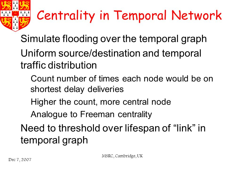 MSRC, Cambridge, UK Dec 7, 2007 Centrality in Temporal Network Simulate flooding over the temporal graph Uniform source/destination and temporal traffic distribution – Count number of times each node would be on shortest delay deliveries – Higher the count, more central node – Analogue to Freeman centrality Need to threshold over lifespan of link in temporal graph