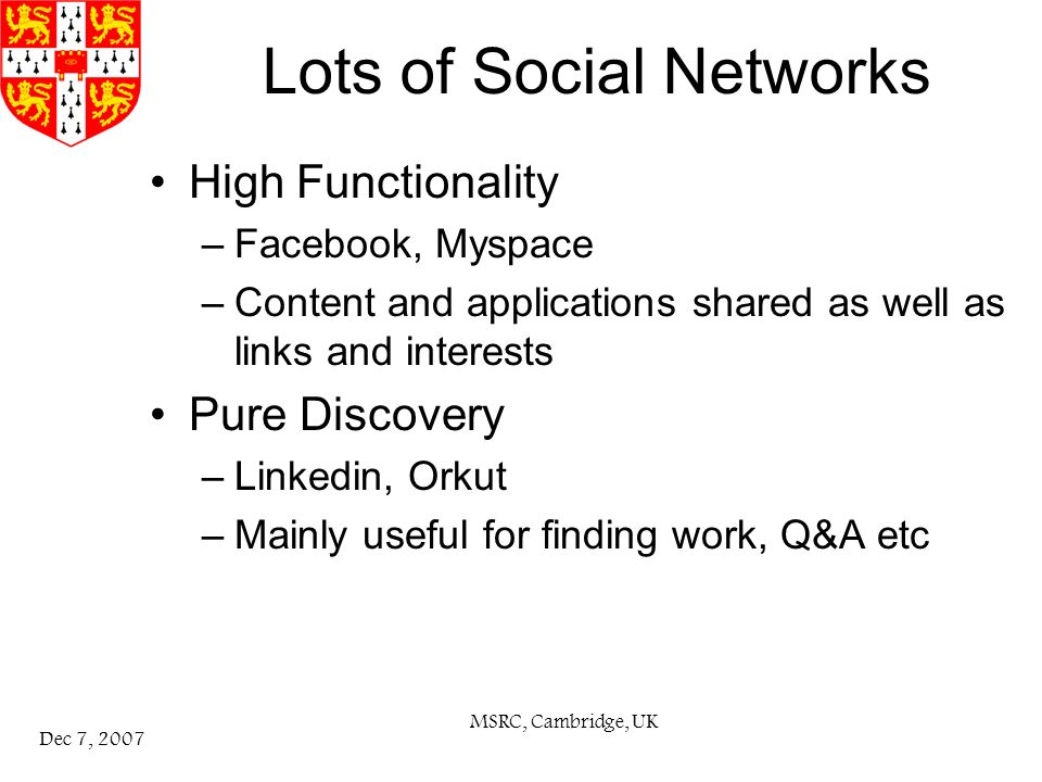 MSRC, Cambridge, UK Dec 7, 2007 Lots of Social Networks High Functionality –Facebook, Myspace –Content and applications shared as well as links and interests Pure Discovery –Linkedin, Orkut –Mainly useful for finding work, Q&A etc