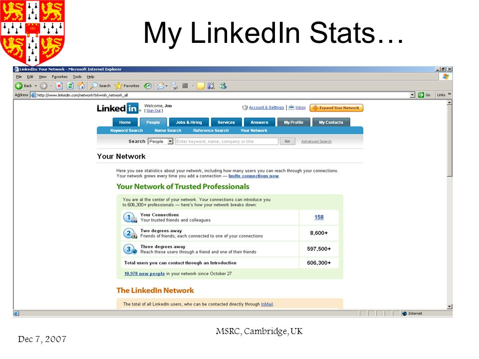MSRC, Cambridge, UK Dec 7, 2007 My LinkedIn Stats…