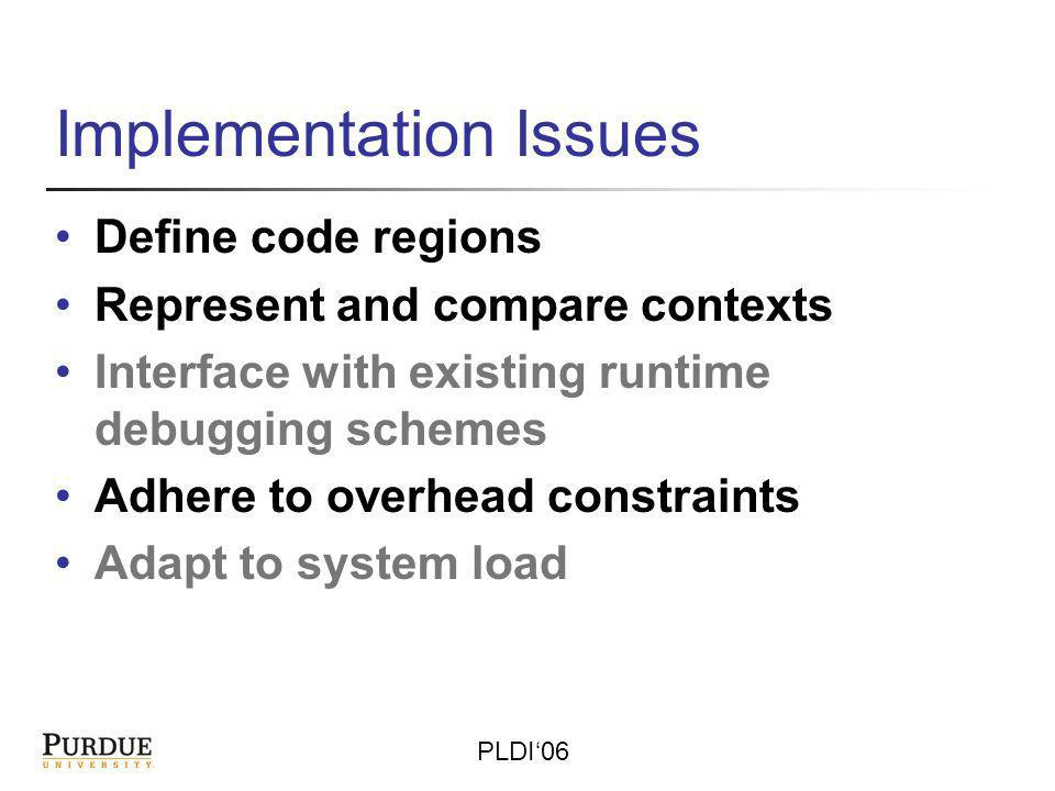 PLDI06 Implementation Issues Define code regions Represent and compare contexts Interface with existing runtime debugging schemes Adhere to overhead constraints Adapt to system load