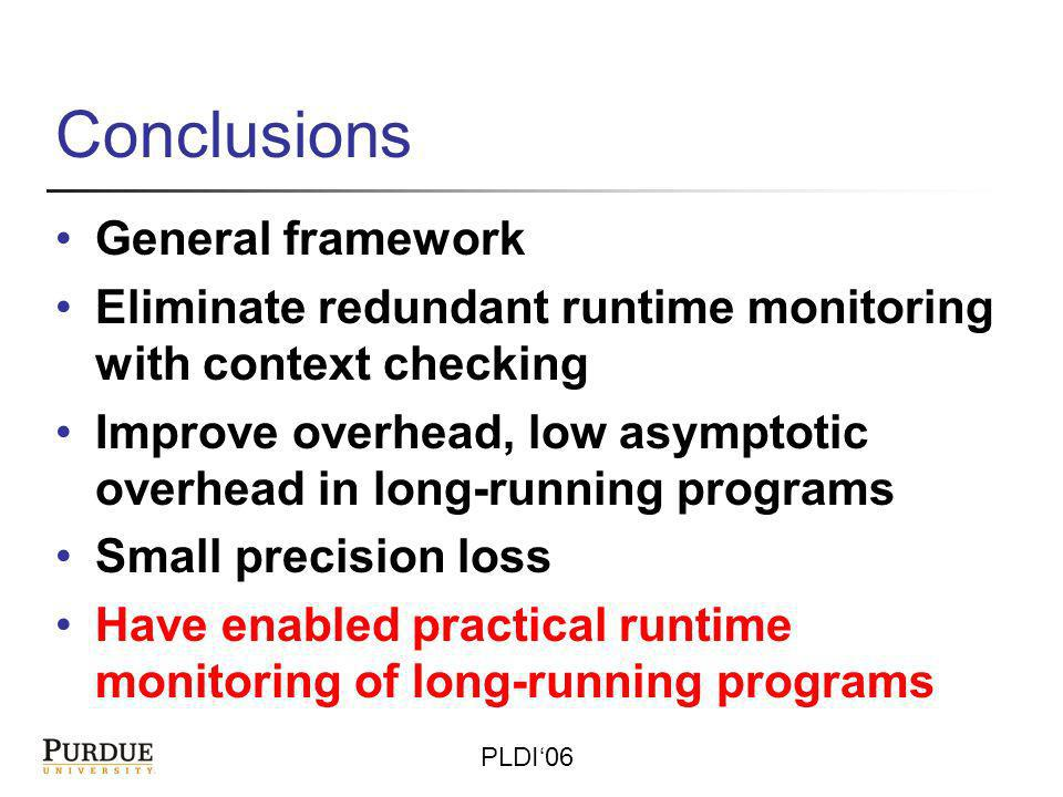 PLDI06 Conclusions General framework Eliminate redundant runtime monitoring with context checking Improve overhead, low asymptotic overhead in long-running programs Small precision loss Have enabled practical runtime monitoring of long-running programs