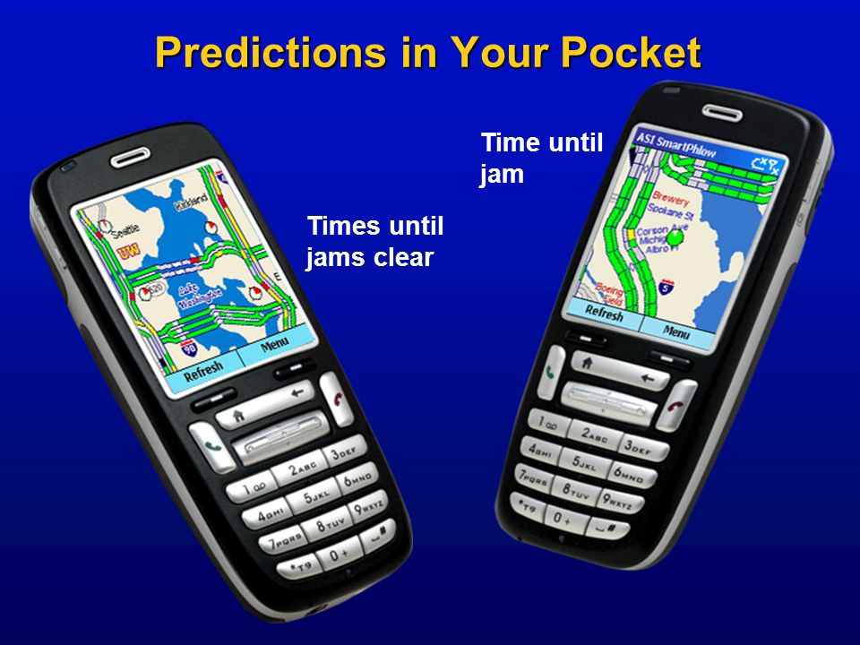 Predictions in Your Pocket Time until jam Times until jams clear