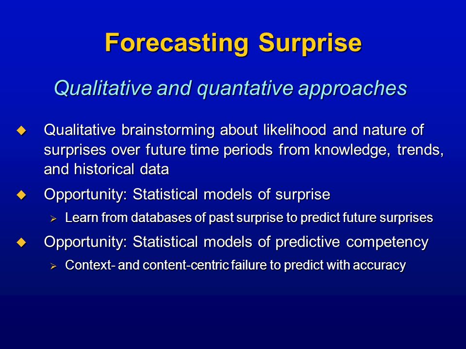 Forecasting Surprise Qualitative brainstorming about likelihood and nature of surprises over future time periods from knowledge, trends, and historica