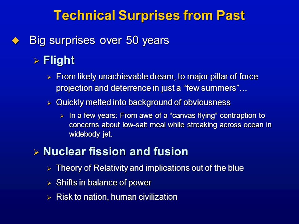 Technical Surprises from Past Big surprises over 50 years Big surprises over 50 years Flight Flight From likely unachievable dream, to major pillar of