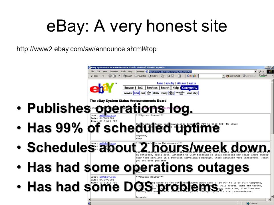 26 eBay: A very honest site Publishes operations log.Publishes operations log.