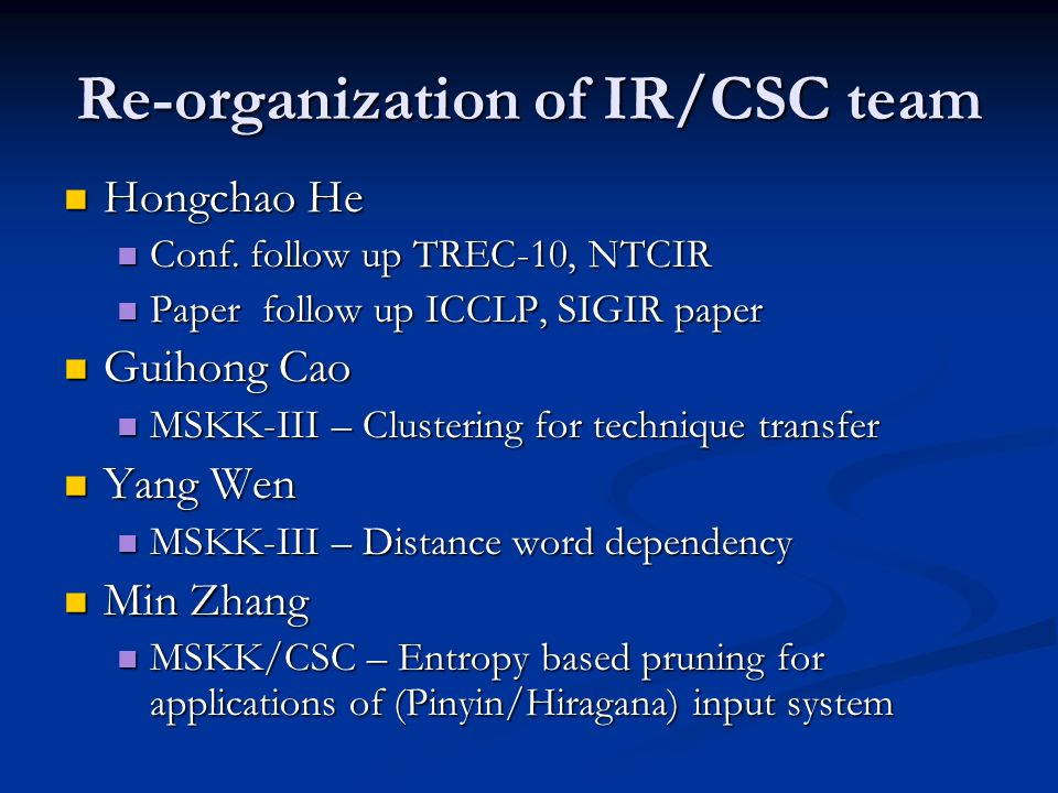 Re-organization of IR/CSC team Hongchao He Hongchao He Conf.