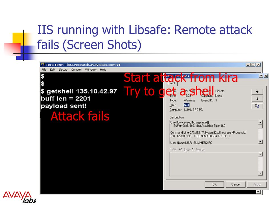 IIS running with Libsafe: Remote attack fails (Screen Shots) Start attack from kira Try to get a shell Attack fails