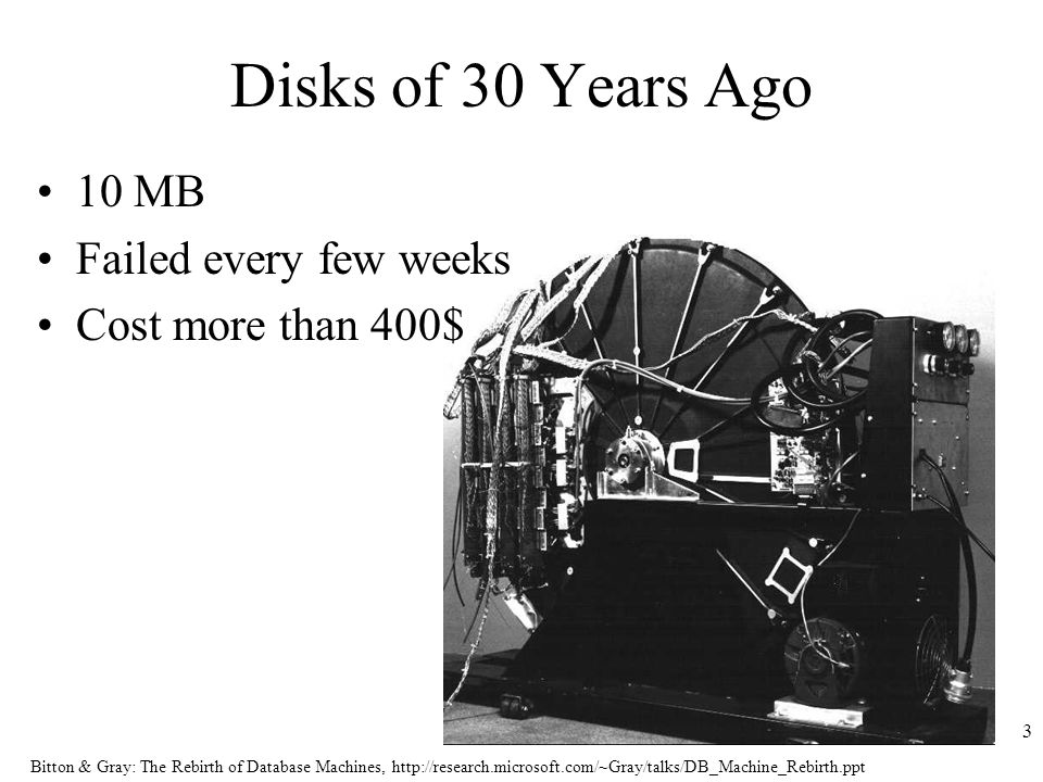Bitton & Gray: The Rebirth of Database Machines,   3 Disks of 30 Years Ago 10 MB Failed every few weeks Cost more than 400$