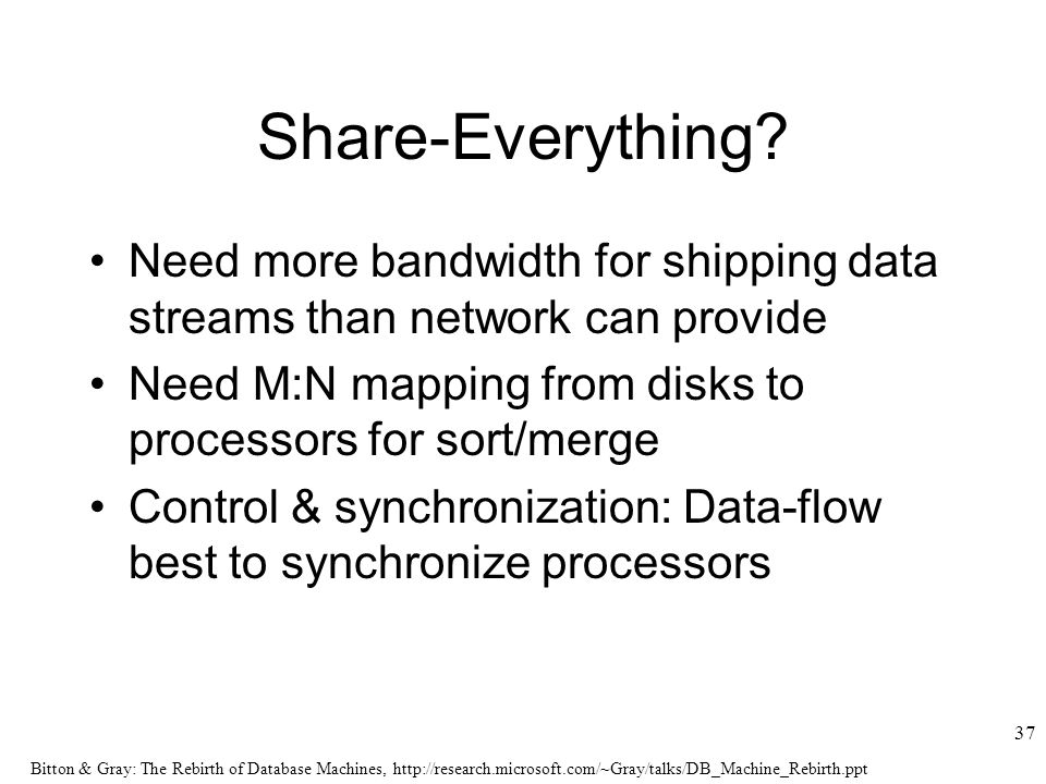 Bitton & Gray: The Rebirth of Database Machines,   37 Share-Everything.
