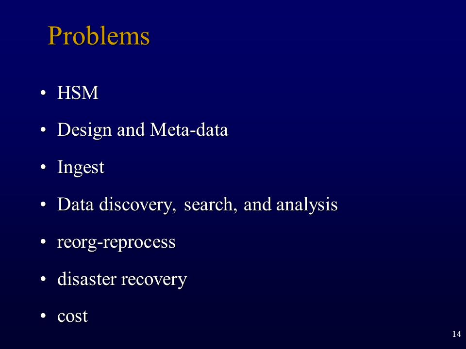 14 Problems HSMHSM Design and Meta-dataDesign and Meta-data IngestIngest Data discovery, search, and analysisData discovery, search, and analysis reor