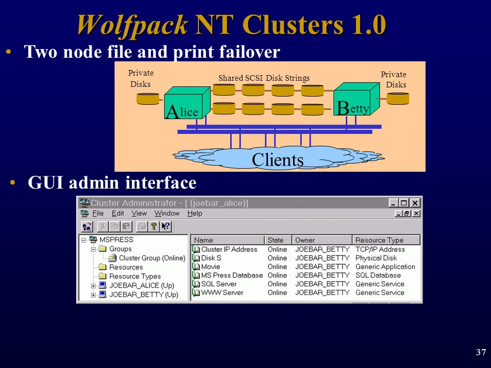37 Wolfpack NT Clusters 1.0 Shared SCSI Disk Strings B etty A lice Private Disks Private Disks Clients Two node file and print failover GUI admin inte