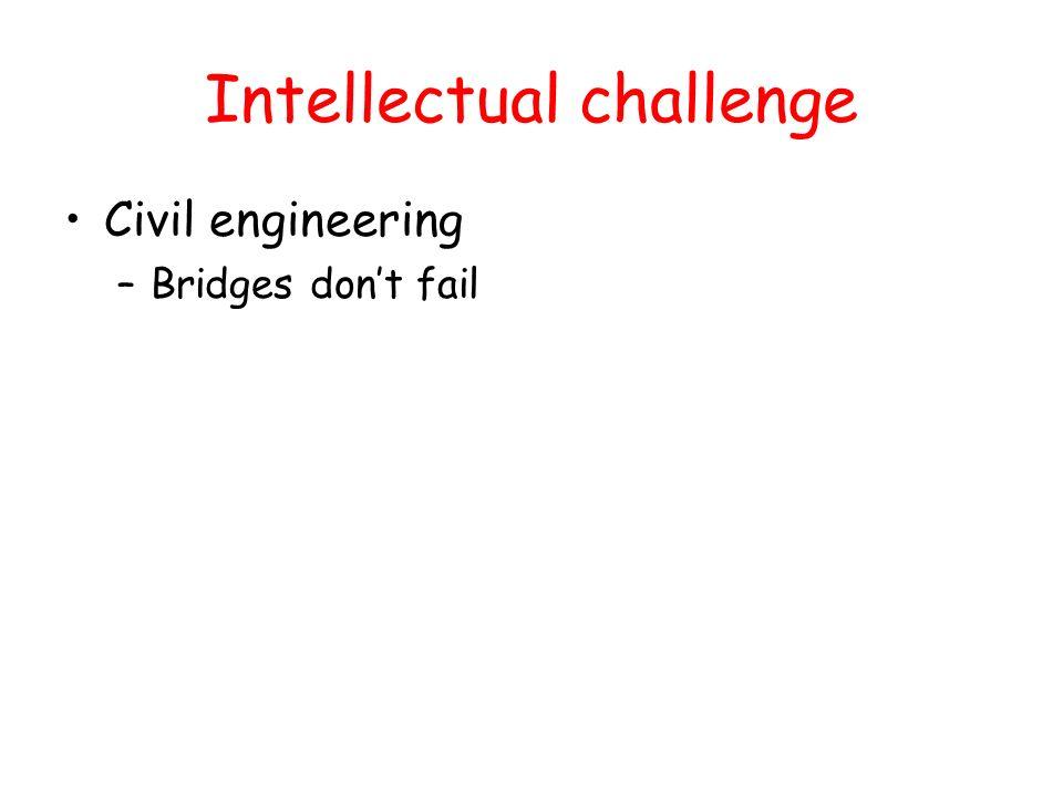 Intellectual challenge Civil engineering –Bridges dont fail