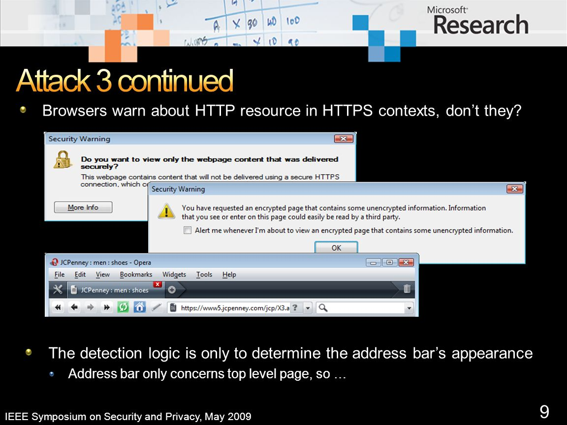 9 IEEE Symposium on Security and Privacy, May 2009 Browsers warn about HTTP resource in HTTPS contexts, dont they.