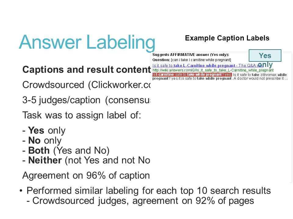 Answer Labeling Captions and result content Crowdsourced (Clickworker.com) 3-5 judges/caption (consensus) Task was to assign label of: - Yes only - No