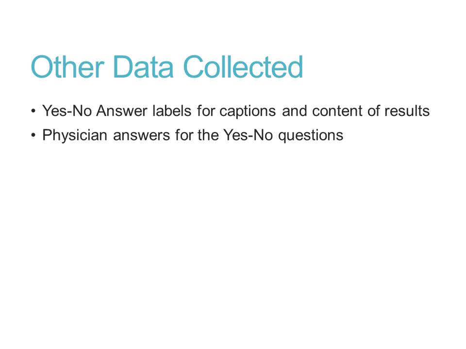 Other Data Collected Yes-No Answer labels for captions and content of results Physician answers for the Yes-No questions