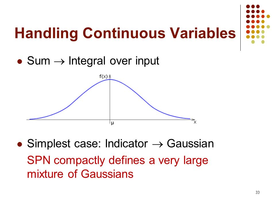 33 Handling Continuous Variables Sum Integral over input Simplest case: Indicator Gaussian SPN compactly defines a very large mixture of Gaussians