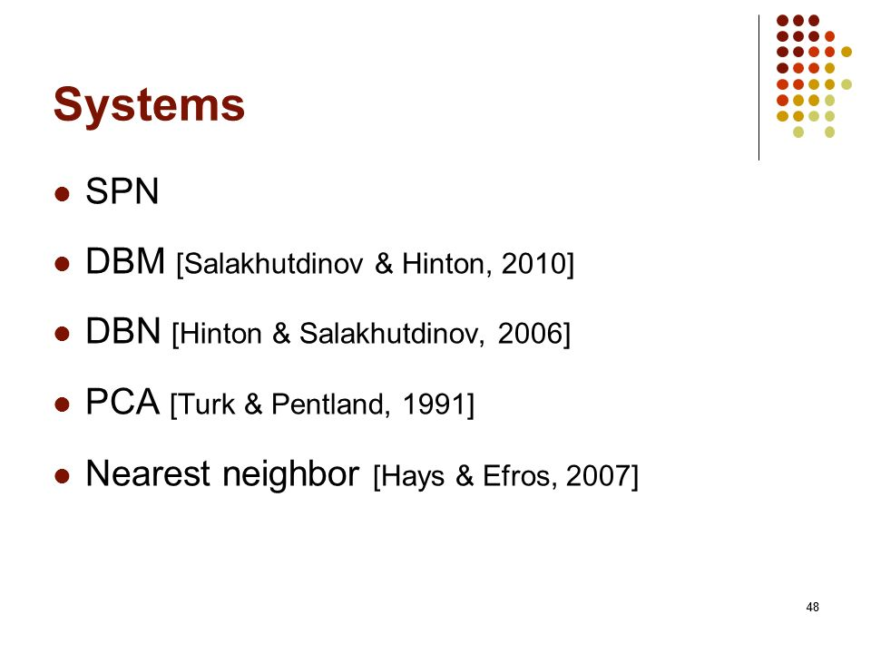 48 Systems SPN DBM [Salakhutdinov & Hinton, 2010] DBN [Hinton & Salakhutdinov, 2006] PCA [Turk & Pentland, 1991] Nearest neighbor [Hays & Efros, 2007]
