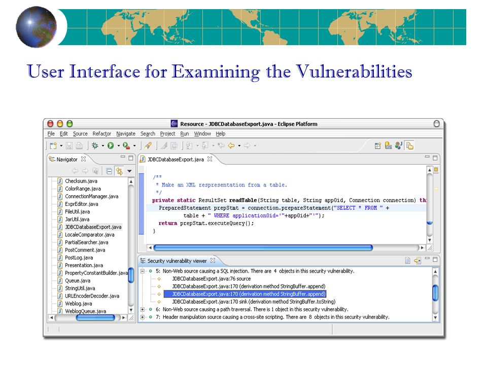 User Interface for Examining the Vulnerabilities