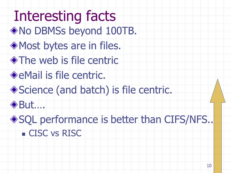 10 Interesting facts No DBMSs beyond 100TB. Most bytes are in files.