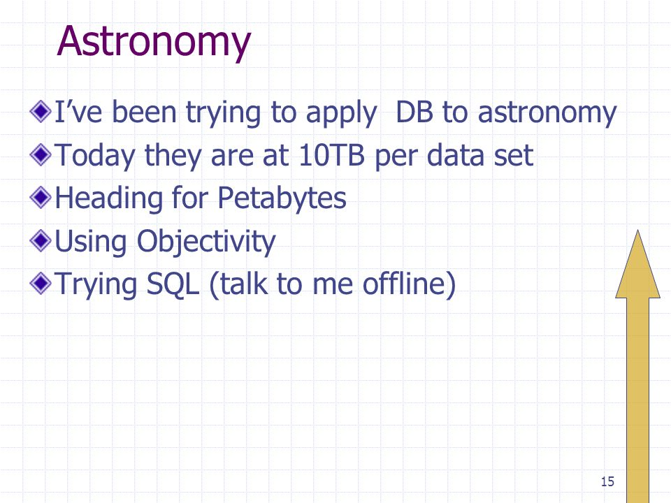 15 Astronomy Ive been trying to apply DB to astronomy Today they are at 10TB per data set Heading for Petabytes Using Objectivity Trying SQL (talk to me offline)