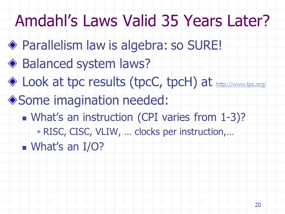 20 Amdahls Laws Valid 35 Years Later. Parallelism law is algebra: so SURE.