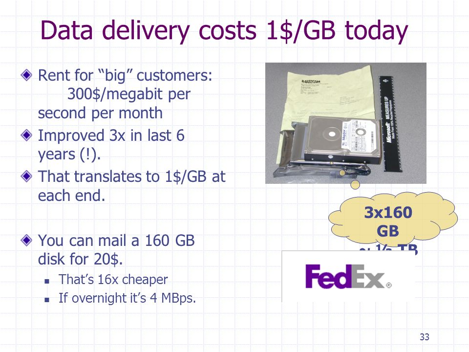 33 Data delivery costs 1$/GB today Rent for big customers: 300$/megabit per second per month Improved 3x in last 6 years (!).