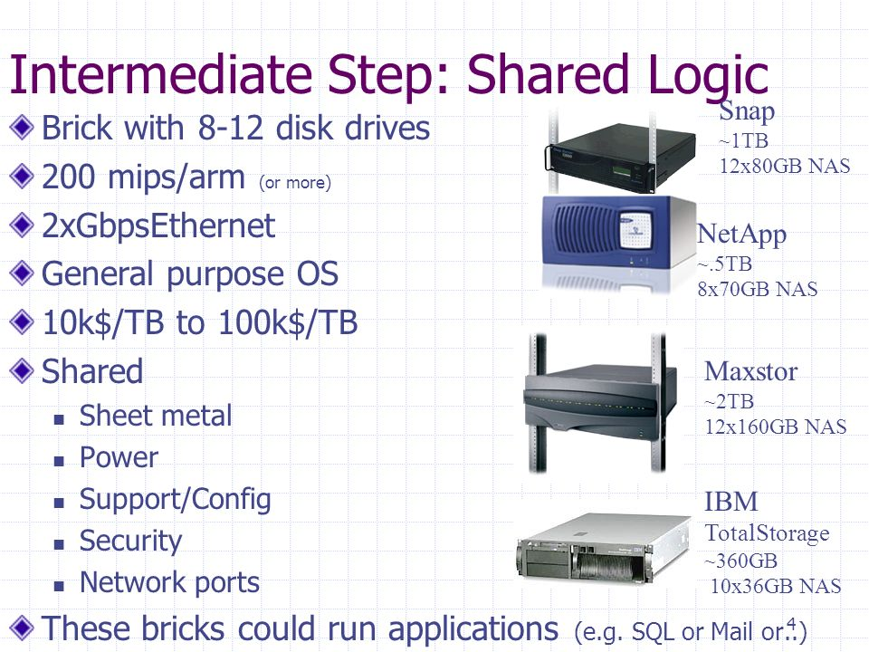 4 Intermediate Step: Shared Logic Brick with 8-12 disk drives 200 mips/arm (or more) 2xGbpsEthernet General purpose OS 10k$/TB to 100k$/TB Shared Sheet metal Power Support/Config Security Network ports These bricks could run applications (e.g.