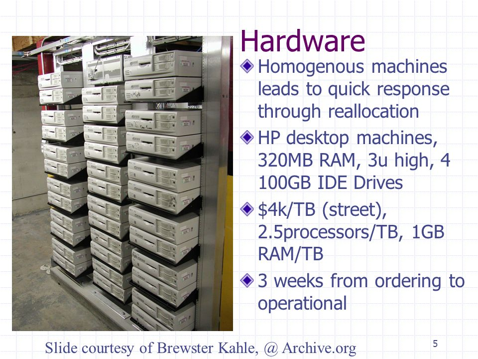 5 Hardware Homogenous machines leads to quick response through reallocation HP desktop machines, 320MB RAM, 3u high, 4 100GB IDE Drives $4k/TB (street), 2.5processors/TB, 1GB RAM/TB 3 weeks from ordering to operational Slide courtesy of Brewster Kahle, @ Archive.org