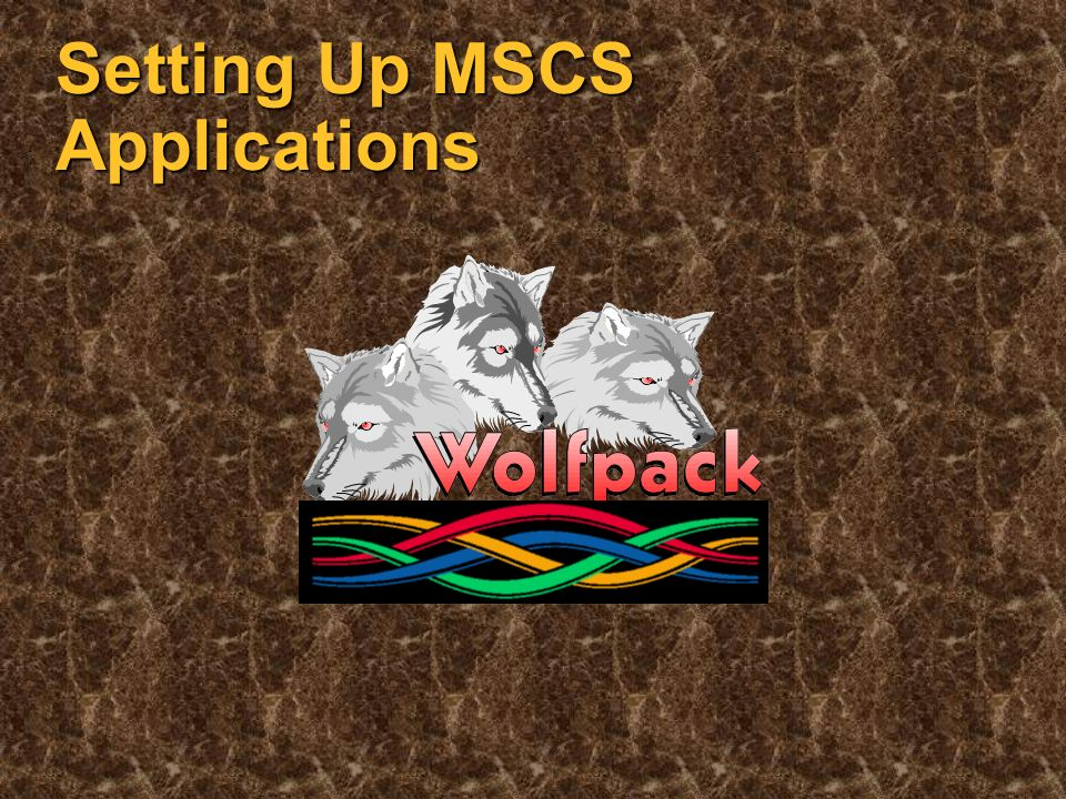 Non-Features Of MSCS Not lock-step/fault-tolerant Not lock-step/fault-tolerant Not able to move running applications Not able to move running applications MSCS restarts applications that are failed over to other cluster members MSCS restarts applications that are failed over to other cluster members Not able to recover shared state between client and server (i.e., file position) Not able to recover shared state between client and server (i.e., file position) All client/server transactions should be atomic All client/server transactions should be atomic Standard client/server development rules still apply Standard client/server development rules still apply ACID always wins ACID always wins