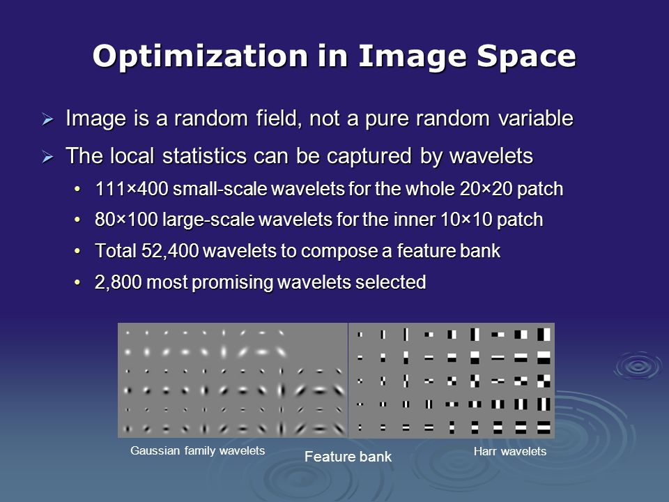 Optimization in Image Space Image is a random field, not a pure random variable Image is a random field, not a pure random variable The local statisti