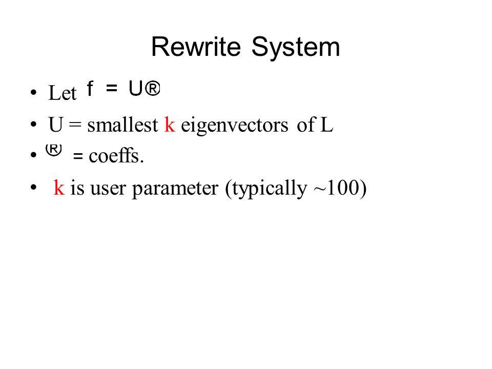 Rewrite System Let U = smallest k eigenvectors of L = coeffs. k is user parameter (typically ~100) Optimal is now solution to k x k system: