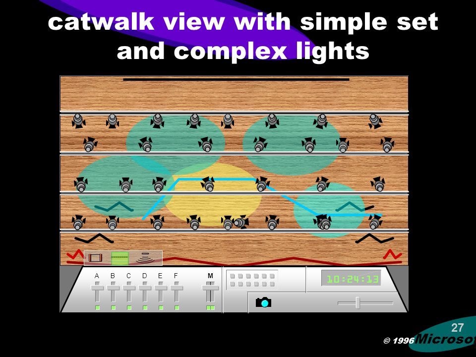 © 1996 Microsoft 26 catwalk view with simple set and minimal lights ABCDEFM 10:24:13