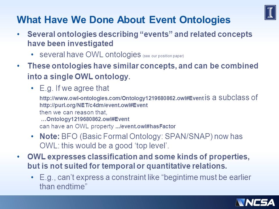 What Have We Done About Event Ontologies Several ontologies describing events and related concepts have been investigated several have OWL ontologies (see our position paper) These ontologies have similar concepts, and can be combined into a single OWL ontology.