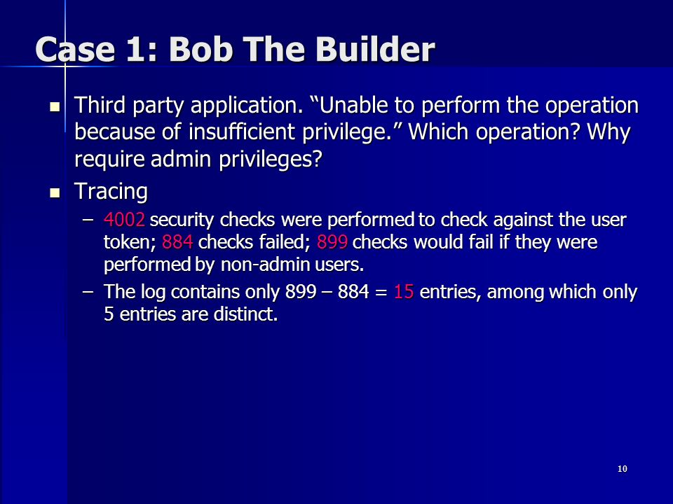 10 Case 1: Bob The Builder Third party application. Unable to perform the operation because of insufficient privilege. Which operation? Why require ad