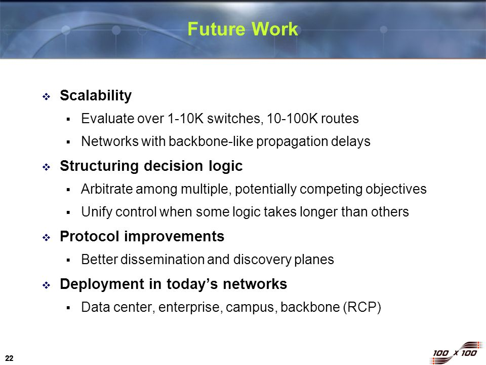 22 Future Work Scalability Evaluate over 1-10K switches, 10-100K routes Networks with backbone-like propagation delays Structuring decision logic Arbi