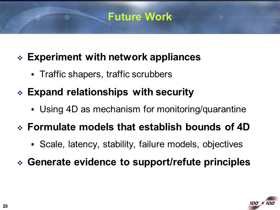23 Future Work Experiment with network appliances Traffic shapers, traffic scrubbers Expand relationships with security Using 4D as mechanism for moni