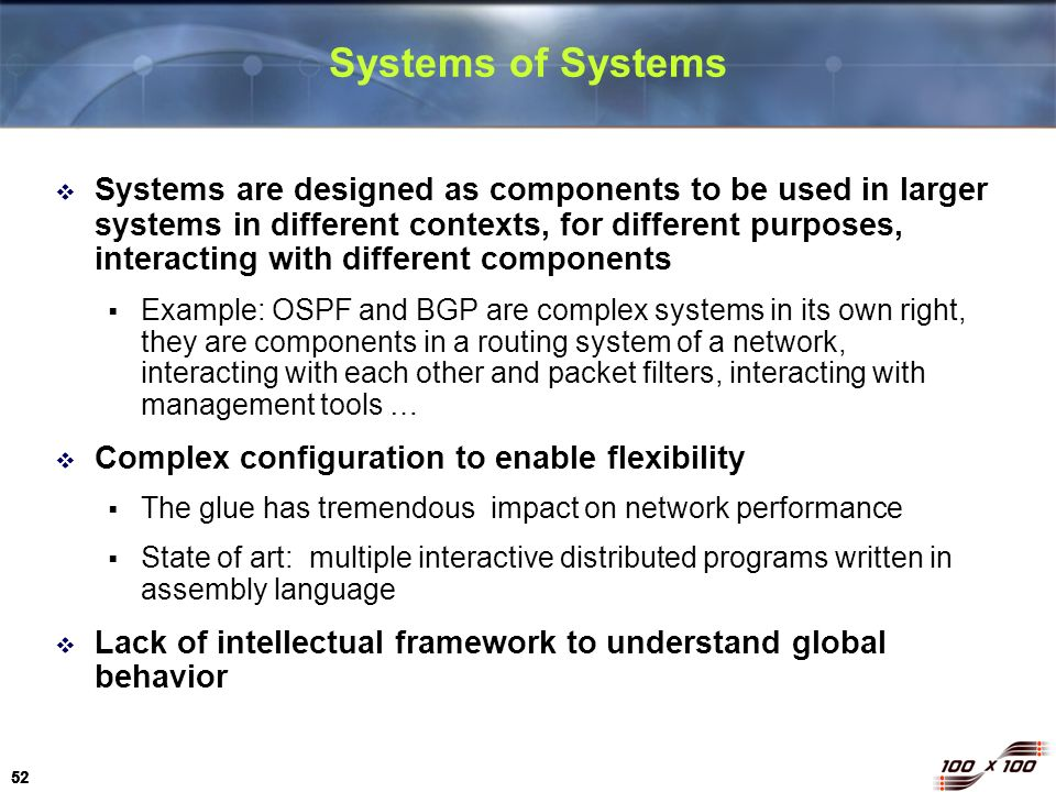 52 Systems of Systems Systems are designed as components to be used in larger systems in different contexts, for different purposes, interacting with