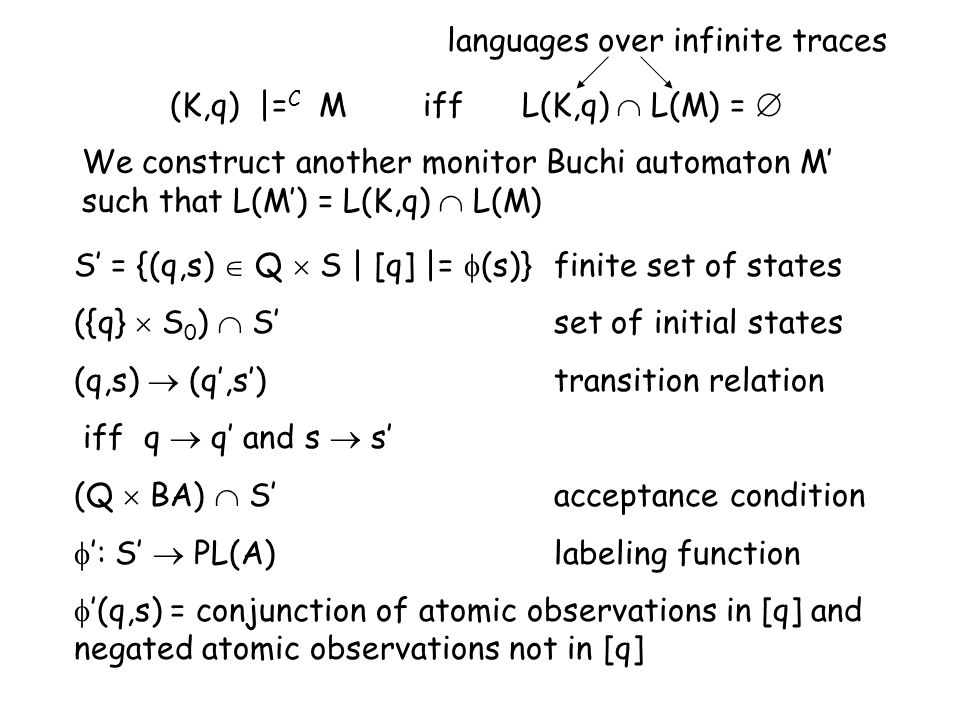 (K,q) |= C M iff L(K,q) L(M) = We construct another monitor Buchi automaton M such that L(M) = L(K,q) L(M) S = {(q,s) Q S | [q] |= (s)} finite set of states ({q} S 0 ) S set of initial states (q,s) (q,s) transition relation iff q q and s s (Q BA) Sacceptance condition : S PL(A)labeling function (q,s) = conjunction of atomic observations in [q] and negated atomic observations not in [q] languages over infinite traces