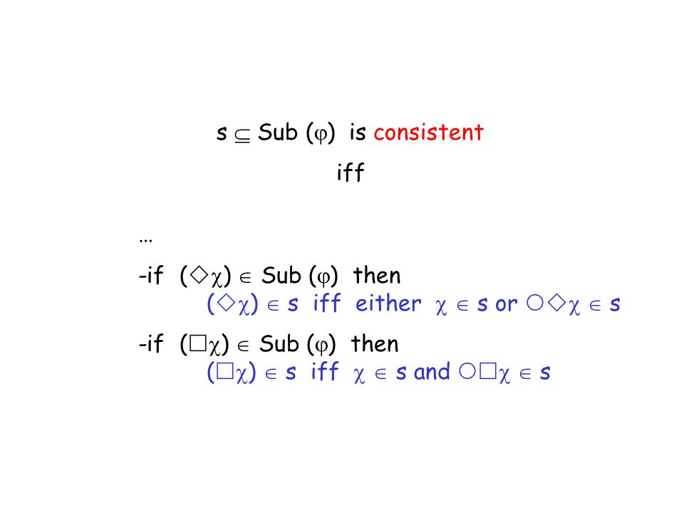 s Sub ( ) is consistent iff … -if ( ) Sub ( ) then ( ) s iff either s or s -if ( ) Sub ( ) then ( ) s iff s and s
