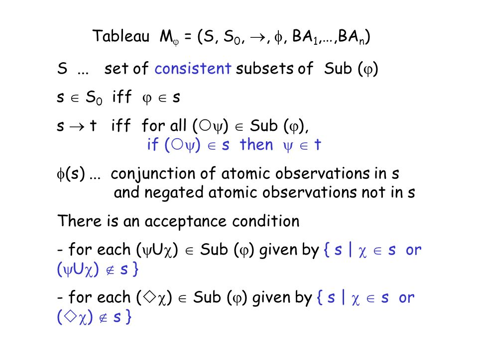 Tableau M = (S, S 0,,, BA 1,…,BA n ) S...set of consistent subsets of Sub ( ) s S 0 iff s s t iff for all ( ) Sub ( ), if ( ) s then t (s)...