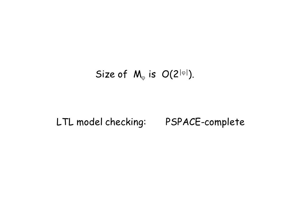 Size of M is O(2 | | ). LTL model checking:PSPACE-complete