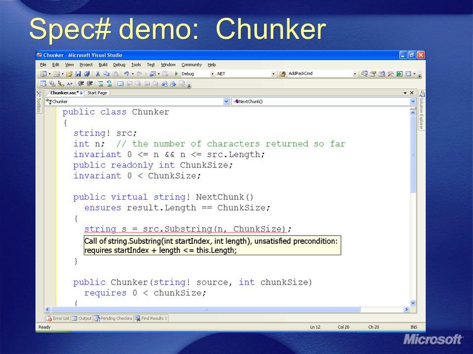 Spec# demo: Chunker