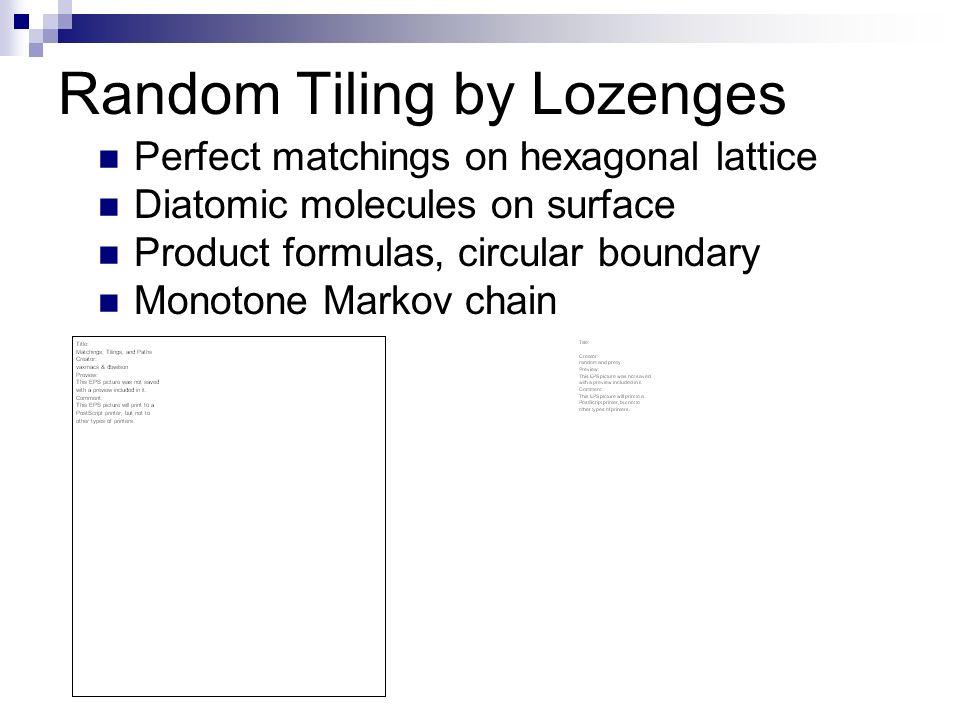 Random Tiling by Lozenges Perfect matchings on hexagonal lattice Diatomic molecules on surface Product formulas, circular boundary Monotone Markov cha