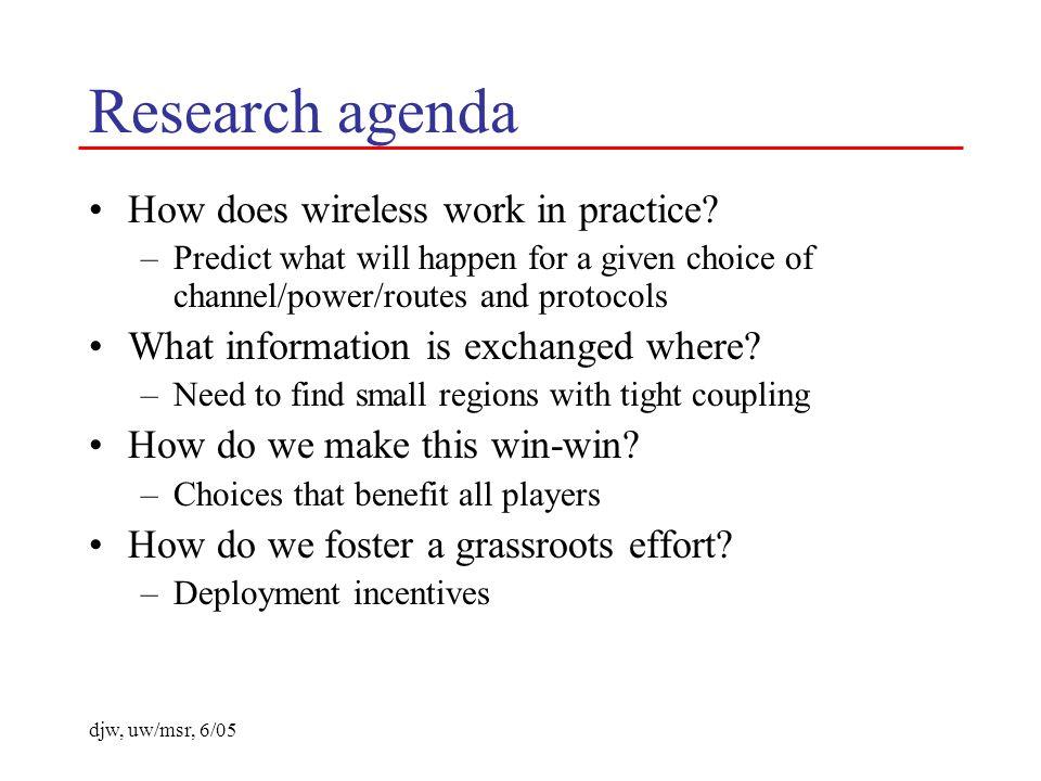 djw, uw/msr, 6/05 Research agenda How does wireless work in practice.