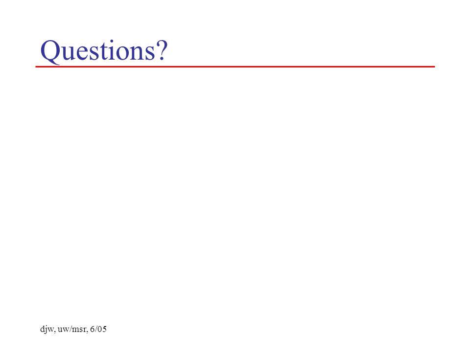 djw, uw/msr, 6/05 Questions