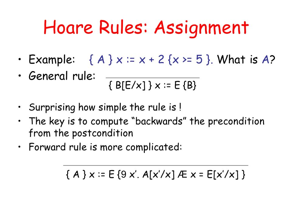 Hoare Rules: Assignment Example: { A } x := x + 2 {x >= 5 }.