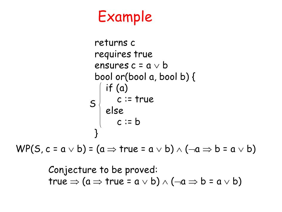 Example returns c requires true ensures c = a b bool or(bool a, bool b) { if (a) c := true else c := b } Conjecture to be proved: true (a true = a b) ( a b = a b) WP(S, c = a b) = (a true = a b) ( a b = a b) S