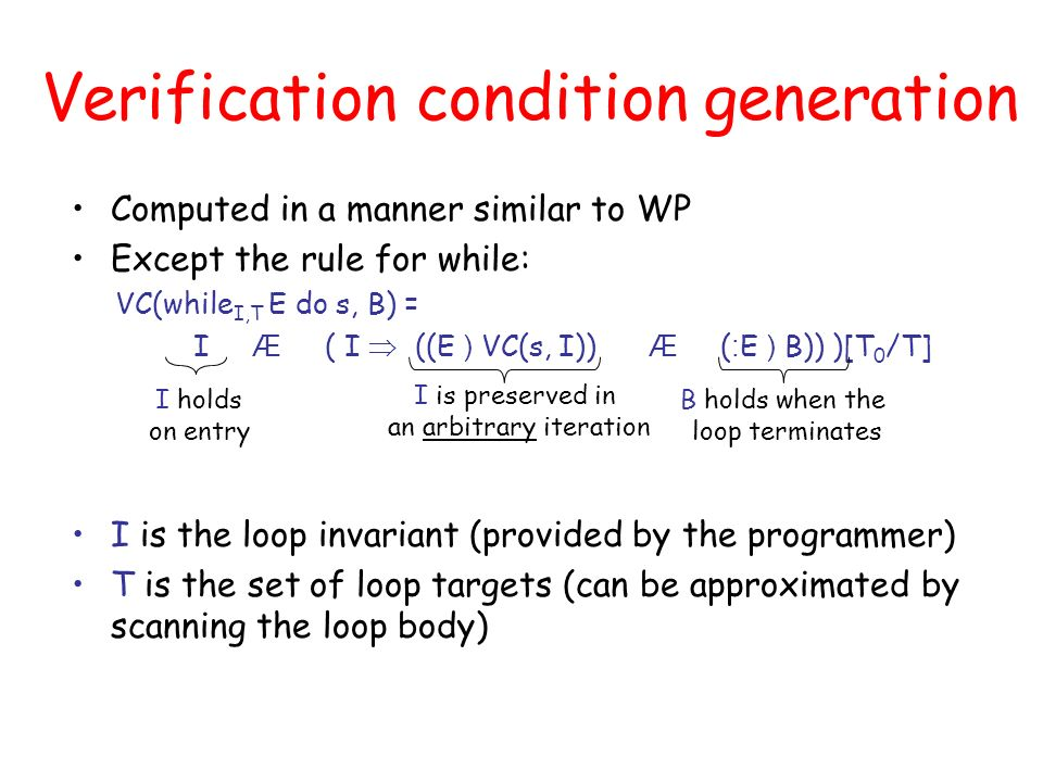 Verification condition generation Computed in a manner similar to WP Except the rule for while: VC(while I,T E do s, B) = I Æ ( I ((E ) VC(s, I)) Æ ( : E ) B)) )[T 0 /T] I is the loop invariant (provided by the programmer) T is the set of loop targets (can be approximated by scanning the loop body) I holds on entry I is preserved in an arbitrary iteration B holds when the loop terminates